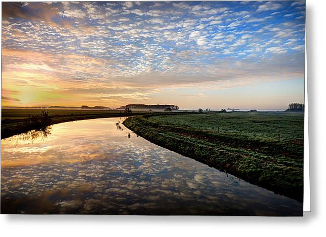 Hdr Landscape Greeting Cards - Countryside Sunrise - The Netherlands Greeting Card by Mountain Dreams