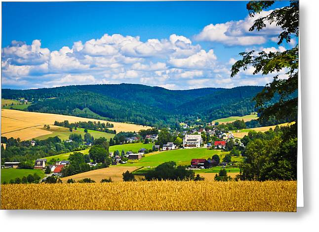 Gras Greeting Cards - Countryside village Greeting Card by Aged Pixel