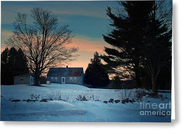 Maine Farmhouse Greeting Cards - Countryside Winter Evening Greeting Card by Joy Nichols