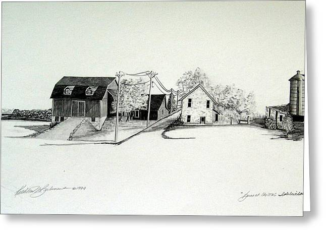Barn Door Drawings Greeting Cards - County C and M Door County Greeting Card by Kathleen Barlament