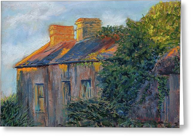Old Door Pastels Greeting Cards - County Clare Late Afternoon Greeting Card by Mary Benke