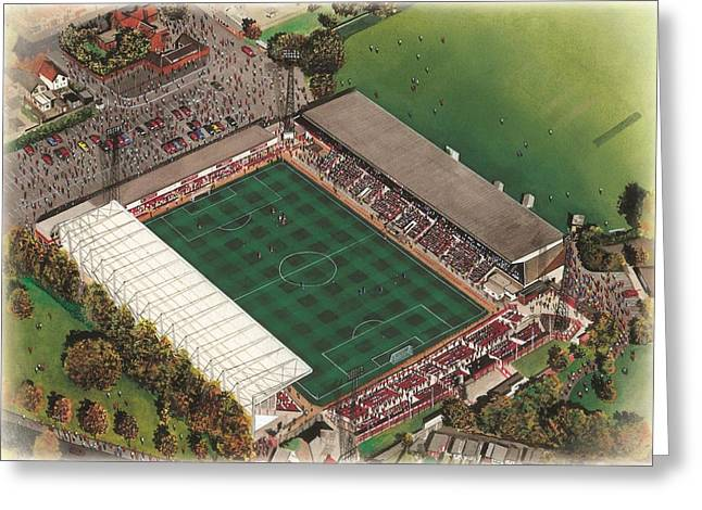 Soccer Greeting Cards Greeting Cards - County Ground - Swindon Town Greeting Card by Kevin Fletcher