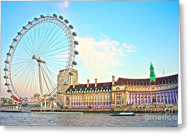 Capsule Greeting Cards - County Hall and London Eye Greeting Card by Terri  Waters