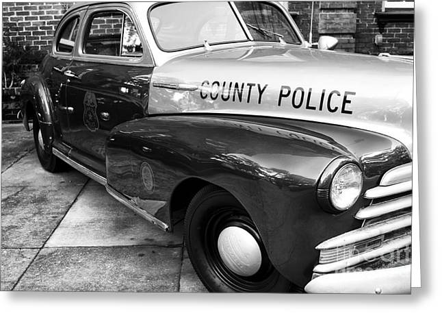 Law Enforcement Greeting Cards - County Police in black and white Greeting Card by John Rizzuto