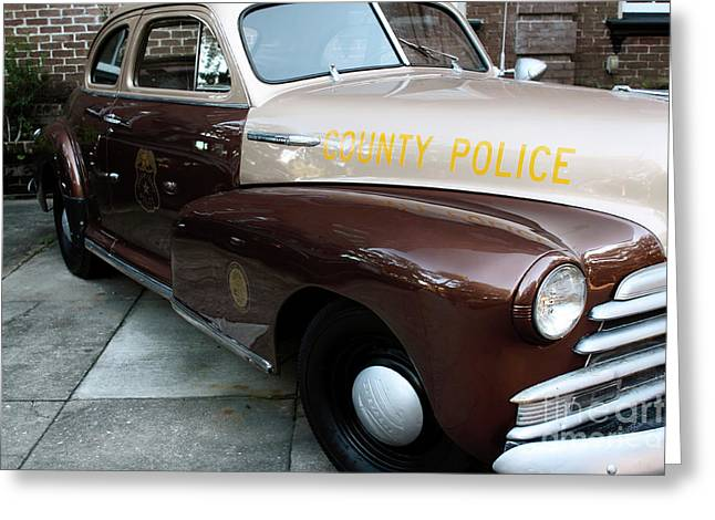 Police Car Greeting Cards - County Police Greeting Card by John Rizzuto