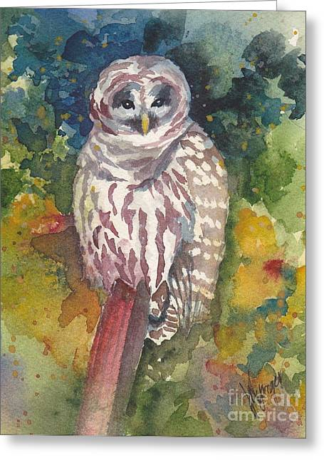 Whidbey Island Wa Greeting Cards - Coupeville Barred Owl Greeting Card by Judi Nyerges