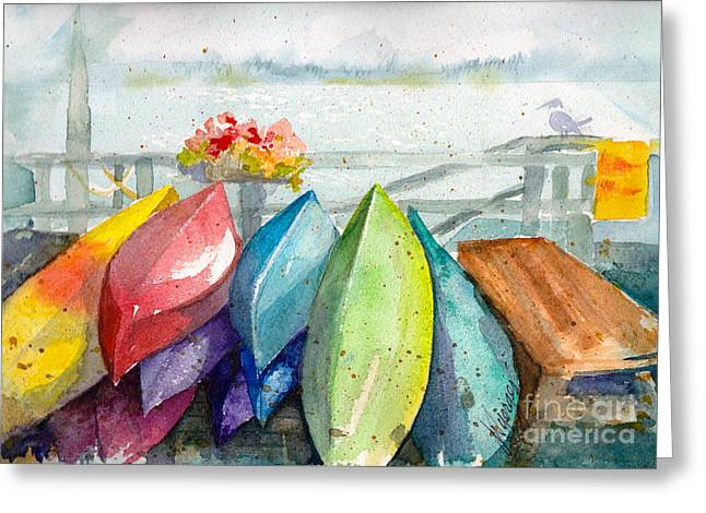 Whidbey Island Wa Greeting Cards - Coupeville Canoes Greeting Card by Judi Nyerges