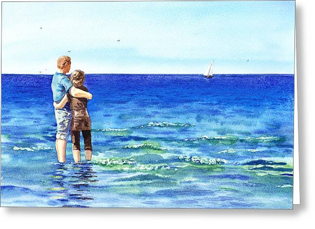 Sailboats In Water Greeting Cards - Couple And The Sea Greeting Card by Irina Sztukowski