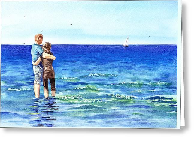 Couple And The Sea Greeting Card by Irina Sztukowski