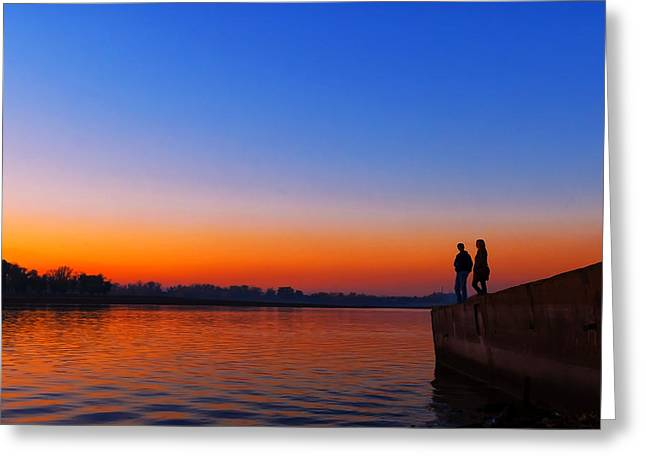 Tide Up Greeting Cards - Couple at Dusk Greeting Card by Svetlana Sewell