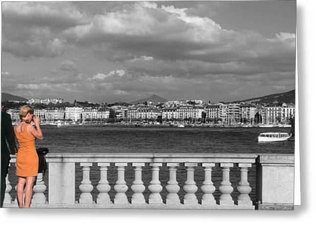 Manipulated Photography Greeting Cards - Couple At Leman Geneva Switzerland Greeting Card by Panoramic Images