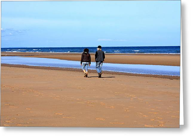 Oceans 11 Greeting Cards - Couple At The Beach Greeting Card by Aidan Moran