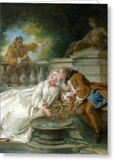 Relaxing Drawings Greeting Cards - Couple Called Fete Champetre, 1730 Greeting Card by Jean-Baptiste Joseph Pater