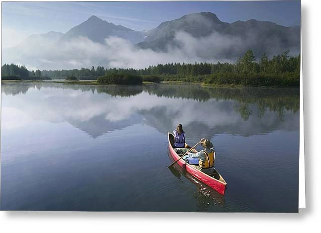 Portage Greeting Cards - Couple Canoeing On Lake Portage Valley Greeting Card by Michael DeYoung
