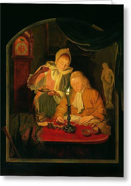 Coins Greeting Cards - Couple Counting Money By Candlelight, 1779 Panel Greeting Card by Michiel Versteegh