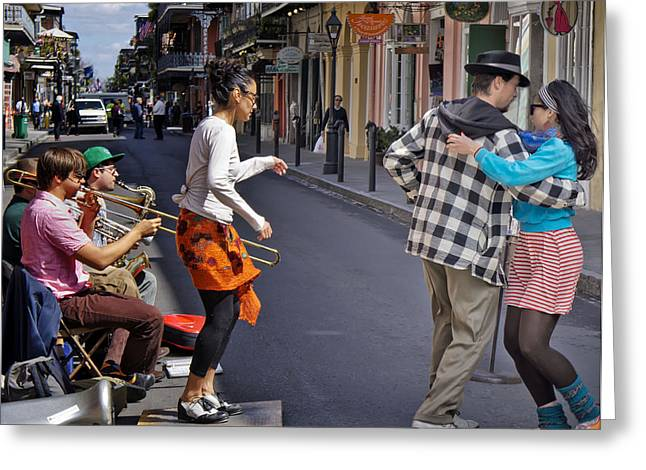 Tap Dancers Greeting Cards - Couple Daning in New Orleans Greeting Card by Loriannah Hespe