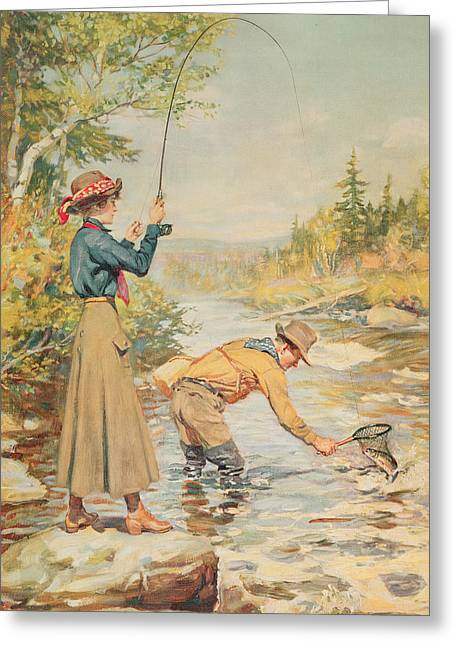 Wading Greeting Cards - Couple Fishing On A River Greeting Card by Anonymous