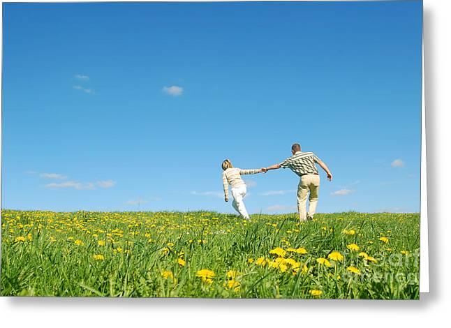 Endearing Greeting Cards - Couple having fun Greeting Card by Michal Bednarek