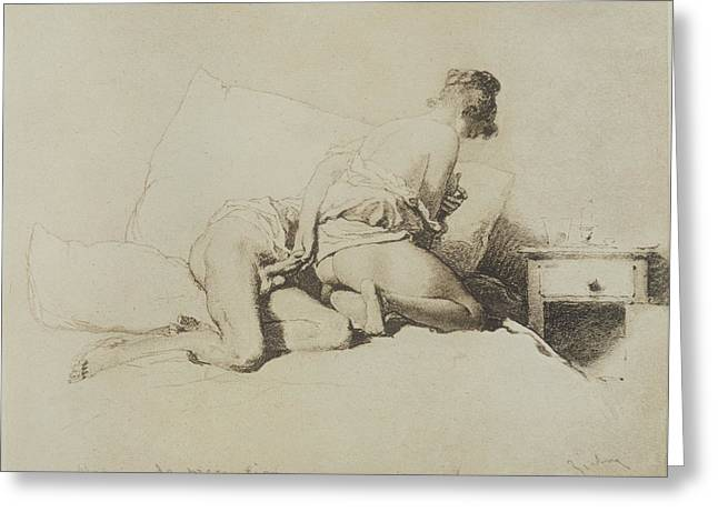 Photogravure Greeting Cards - Couple Having Sex On A Bed, Plate 36 Greeting Card by Mihaly von Zichy