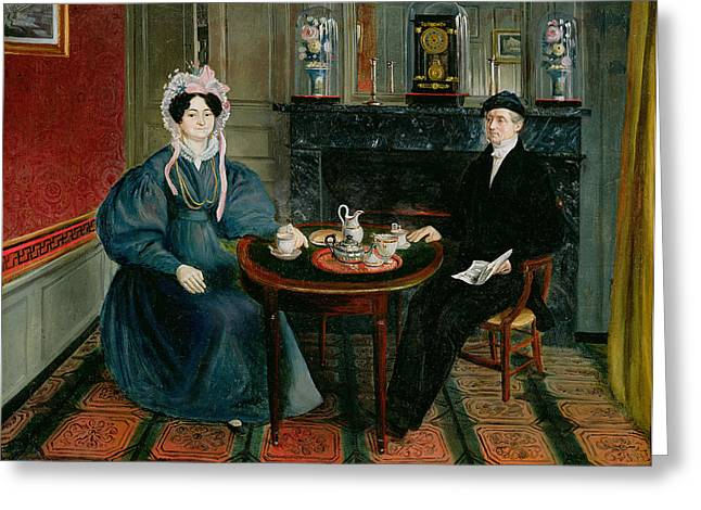 Wives Greeting Cards - Couple Having Tea, C.1830 Greeting Card by French School