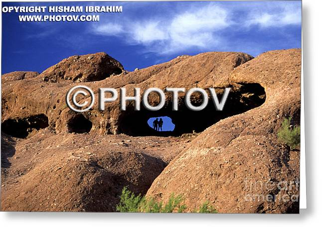 Holes In Sandstone Greeting Cards - Couple hiking in Papago Park - Phoenix - Arizona - Limited Edition Greeting Card by Hisham Ibrahim