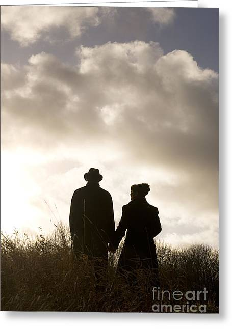Husband Waiting Greeting Cards - Couple Holding Hands  Greeting Card by Lee Avison