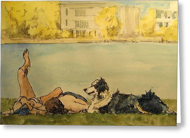 Dog Sketch Greeting Cards - Couple In The Spree Greeting Card by Juan  Bosco