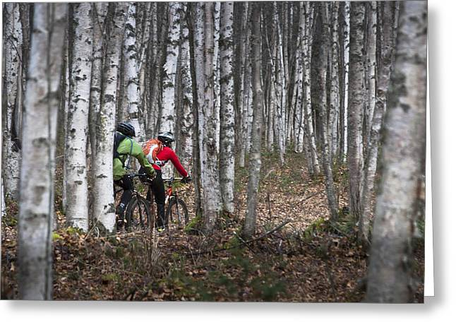 Airstrip Greeting Cards - Couple Mountain Biking Along Campbell Greeting Card by Joe Stock
