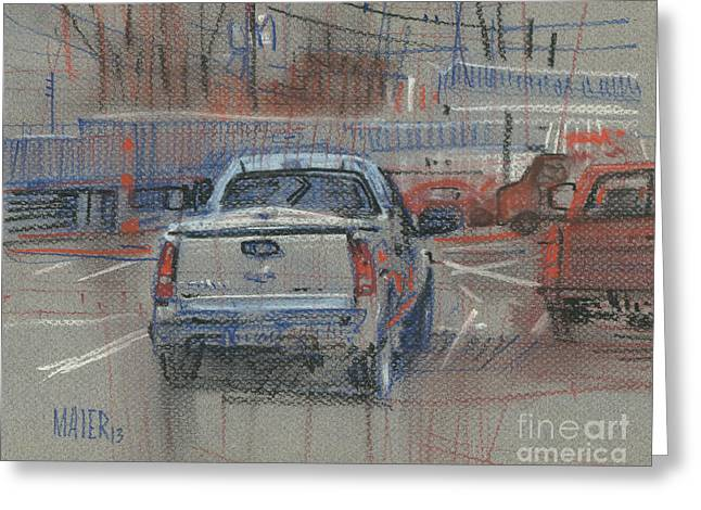 Truck Drawings Greeting Cards - Couple of Chevys Greeting Card by Donald Maier