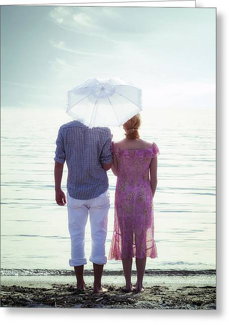 Embrace Greeting Cards - Couple On The Beach Greeting Card by Joana Kruse