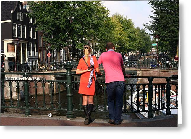 River View Greeting Cards - Couple On The Bridge Greeting Card by Aidan Moran