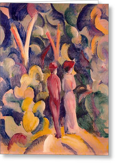 Women Together Greeting Cards - Couple on the Forest Track Greeting Card by August Macke