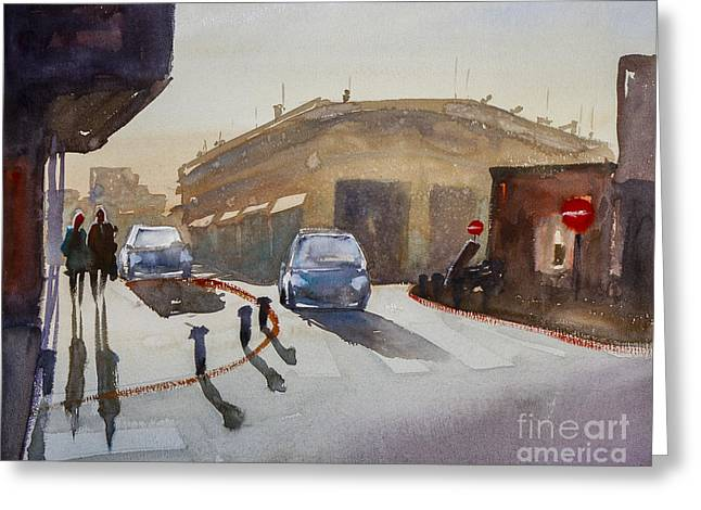 Crosswalk Paintings Greeting Cards - Couple On The Street Greeting Card by Lior Ohayon