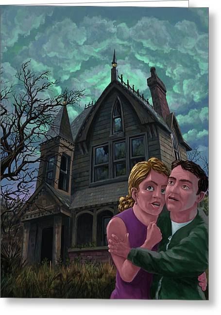 Ghost Story Greeting Cards - Couple Outside Haunted House Greeting Card by Martin Davey