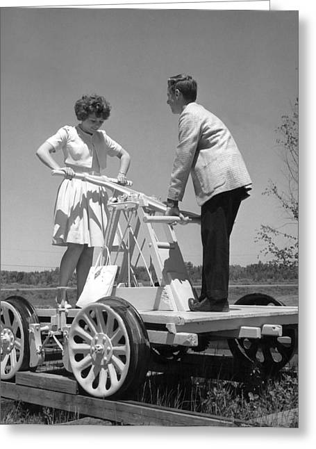 Hands To Face Greeting Cards - Couple Powers A Railroad Cart Greeting Card by Underwood Archives