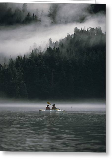 Peaceful Scenery Greeting Cards - Couple Sea Kayaking In Red Bluff Bay Greeting Card by Mark Kelley
