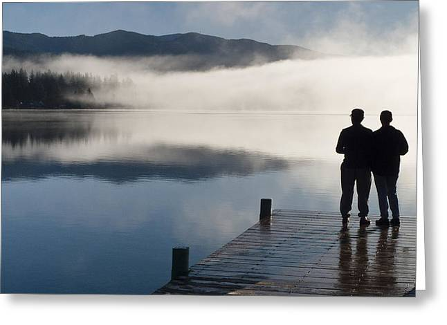Female Silhouette Greeting Cards - Couple Standing On A Dock And Greeting Card by Kevin Smith