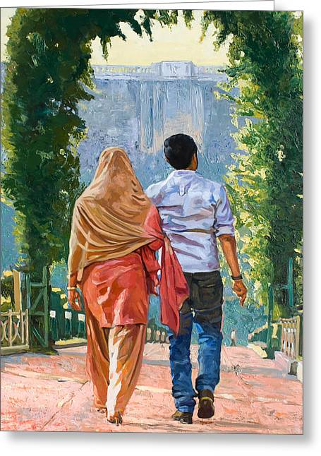 Museum Quality Greeting Cards - Couple under the leafy arch Greeting Card by Dominique Amendola