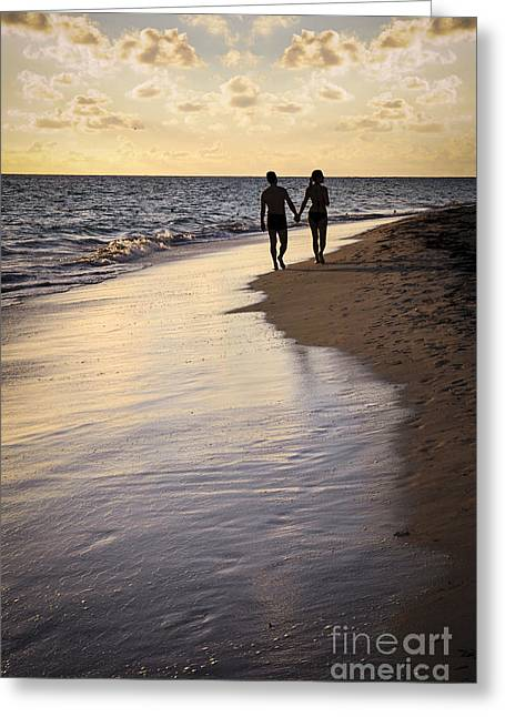 Couple Walking On A Beach Greeting Card by Elena Elisseeva