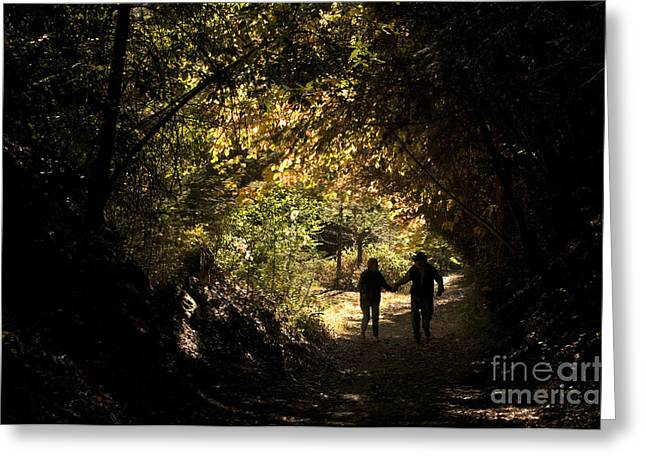 Senior Citizens Greeting Cards - Couple Walking Greeting Card by Ron Sanford