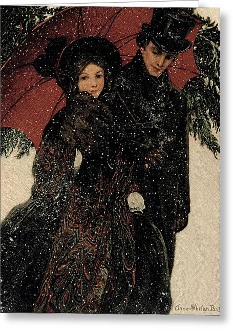Umbrellas Photographs Greeting Cards - Couple Walking Through The Snow, Greeting Card By Anna Whelan Betts, C.1900 Greeting Card by Bridgeman Images