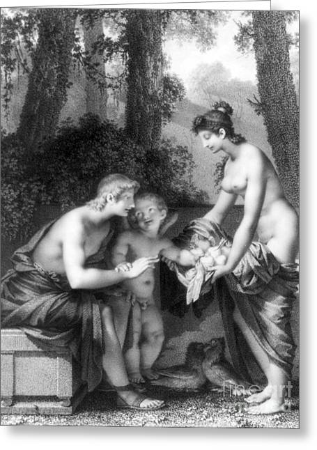 Nude Woman Greeting Card Greeting Cards - Couple With Cupid, 1796 Greeting Card by Science Source
