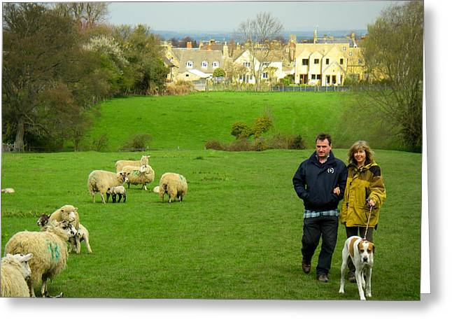 Couple With Dog On Cotswold Way Trail Through Green Pastures Near Broadway Village England Greeting Card by Robert Ford