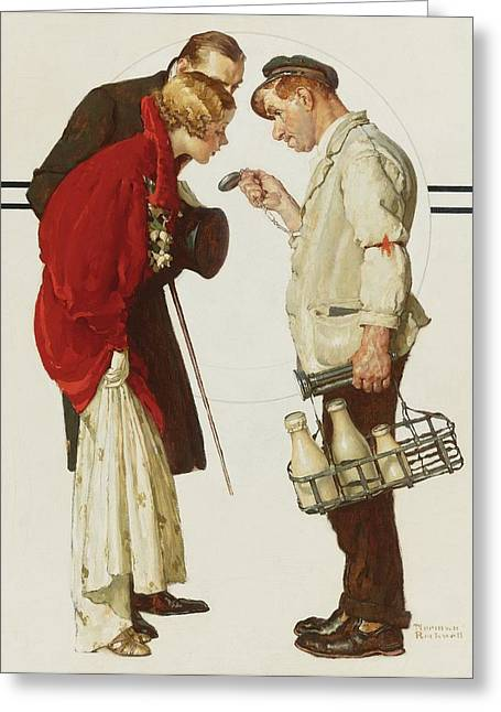 Norman Drawings Greeting Cards - Couple with Milkman by Norman Rockwell Greeting Card by Nomad Art And  Design