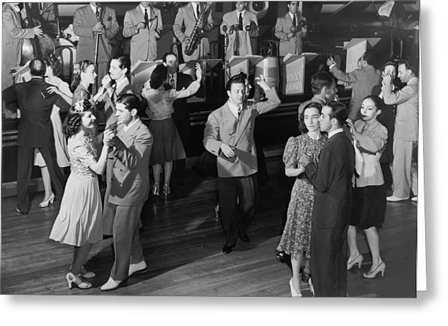 Couples Dancing To A Band Greeting Card by Underwood Archives