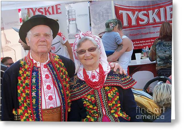 Polish Culture Greeting Cards - Couples in Polish national costumes Greeting Card by Lingfai Leung