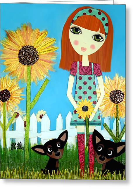 Puppies Mixed Media Greeting Cards - Courage 2 Greeting Card by Laura Bell