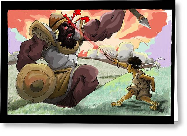 Bible Pastels Greeting Cards - Courage  David Vs. Goliath Greeting Card by Ronnell Williams