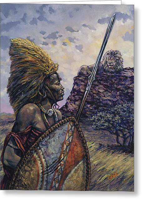 Africa Paintings Greeting Cards - Courage Greeting Card by Dennis Goff
