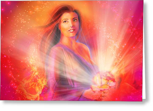 Courage Pastels Greeting Cards - Courage Goddess Greeting Card by Lucinda Rae